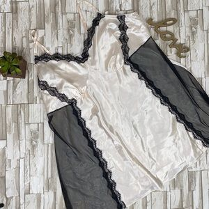 Cacique Ivory and Black Lace Satin Chemise